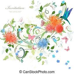 floral, ornament, kaart, kleurrijke, uitnodiging