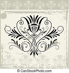 Floral Ornament On Grunge Background, editable vector...