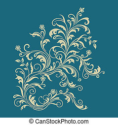 Floral ornament on turquoise background. This image is a...