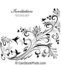 floral, ornament, ontwerp, jouw