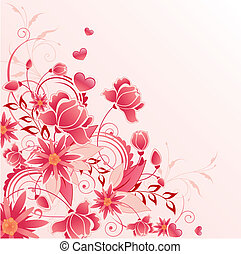 floral, ornament, rode achtergrond