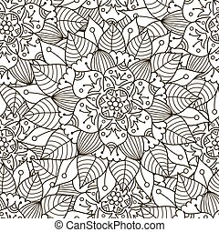 Floral ornament seamless pattern. Black and white round ornament texture