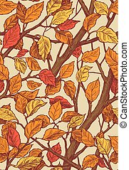 Floral ornament seamless pattern with leaves and brances.