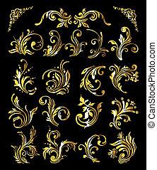 Floral Ornament Set of Vintage Golden Decoration Elements