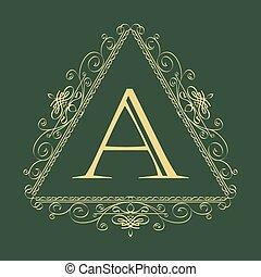 Floral ornament template logo