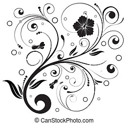 Floral ornament with circle, element for design, vector...