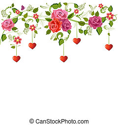 Floral ornament with hearts for your design