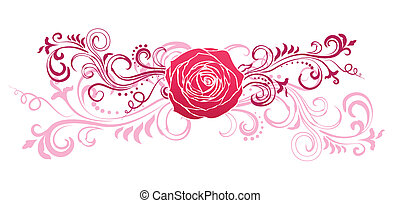 Floral ornament with rose