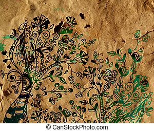 Floral ornament with tree and birds on paper