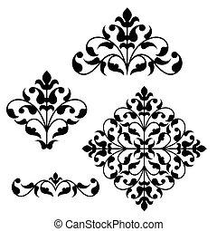 floral,  ornamental, Conjunto, elementos, diseño