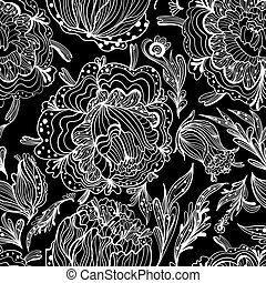 floral, ornamental, esboço, padrão