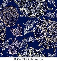 floral, ornamental, esboço, vetorial, padrão