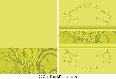 floral, ornamental, fondo verde