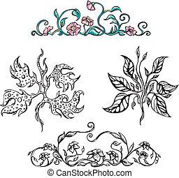 Floral ornamental patterns. Vector set