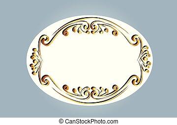 floral, ornamental, quadro, desenho, ouro