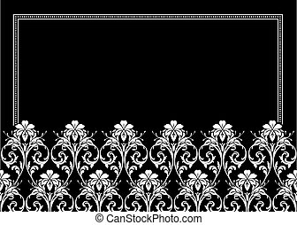 floral, ornamental, quadro, vetorial