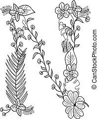 floral, ornamento, carta n