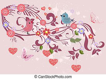 floral, ornamento, com, corações, para, seu, desenho