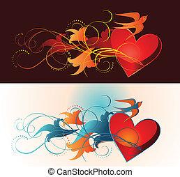 floral, ornamento, composición, corazón, martlet.