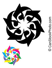 floral, ornamento, con, 3, (vector)