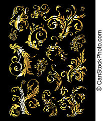 floral, ornamento, conjunto, de, vendimia, dorado, decoración, elementos