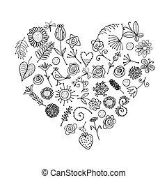 floral, ornamento, forma corazón, para, su, diseño