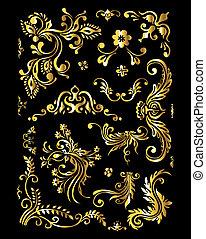 floral, ornamento, jogo, de, vindima, dourado, decoração, elementos