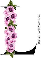floral, ornamento, l, letra
