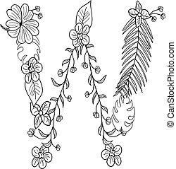 floral, ornamento, letra, w