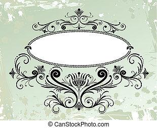 floral, ornamento, marco, grunge, plano de fondo
