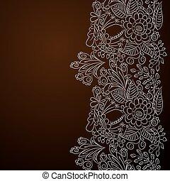 floral, ornamento, prata, cartão