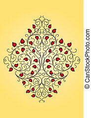 floral, ornamento, retro, (vector)