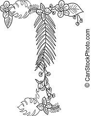 floral, ornamento, t, letra