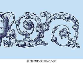 floral, ornamento, -, vector
