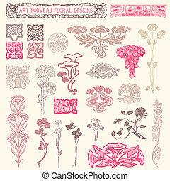 floral, ornaments., set, ouderwetse