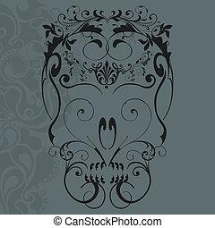 Floral ornaments skull