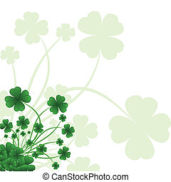Floral ornate background to St. Patrick's Day with clover