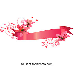 Floral ornate banner with pink lilies isolated on white