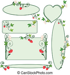Floral ornate frames set with strawberries