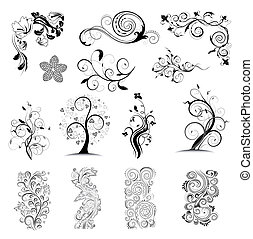Floral ornatedesign elements - Collection vector floral ...