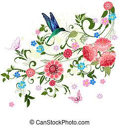 floral, ornement, conception, ton