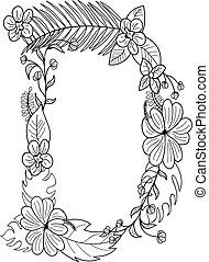 floral, ornement, d, lettre