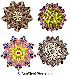 floral, ornement, dentelle, coloré, ethnique