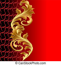 floral, ornement, fond, or, rouges