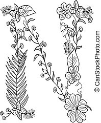 floral, ornement, lettre n
