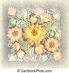 floral, ornement, résumé, grunge, fond