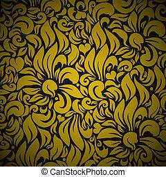 floral, oro, seamless, plano de fondo