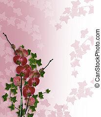 floral, orquídeas, frontera, boda