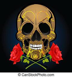 floral, osso, com, rosas