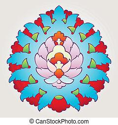 floral, ottoman, motif